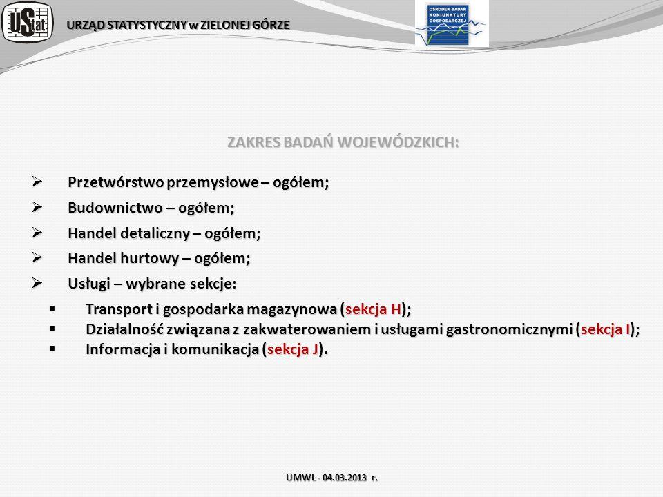 URZĄD STATYSTYCZNY w ZIELONEJ GÓRZE UMWL - 04.03.2013 r. ZAKRES BADAŃ WOJEWÓDZKICH: Przetwórstwo przemysłowe – ogółem; Przetwórstwo przemysłowe – ogół