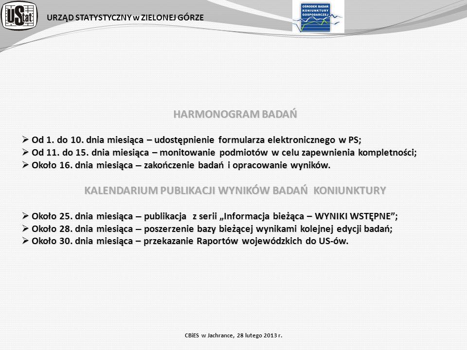 URZĄD STATYSTYCZNY w ZIELONEJ GÓRZE CBiES w Jachrance, 28 lutego 2013 r. HARMONOGRAM BADAŃ Od 1. do 10. dnia miesiąca – udostępnienie formularza elekt