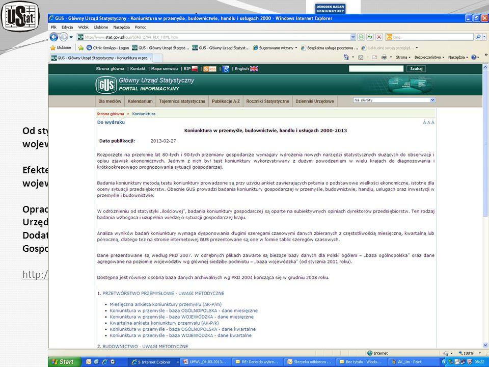 URZĄD STATYSTYCZNY w ZIELONEJ GÓRZE ORGANIZACJA BADAŃ KONIUNKTURY GOSPODARCZEJ Od stycznia 2011 r. podjęto próbę opracowania wskaźników koniunktury go