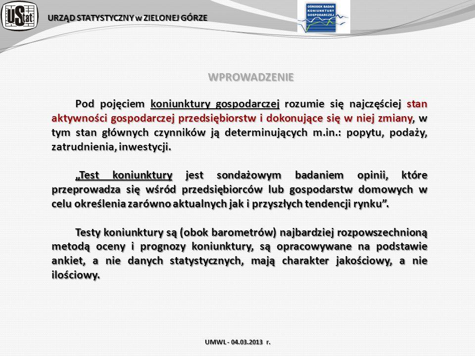 URZĄD STATYSTYCZNY w ZIELONEJ GÓRZE WPROWADZENIE dok.