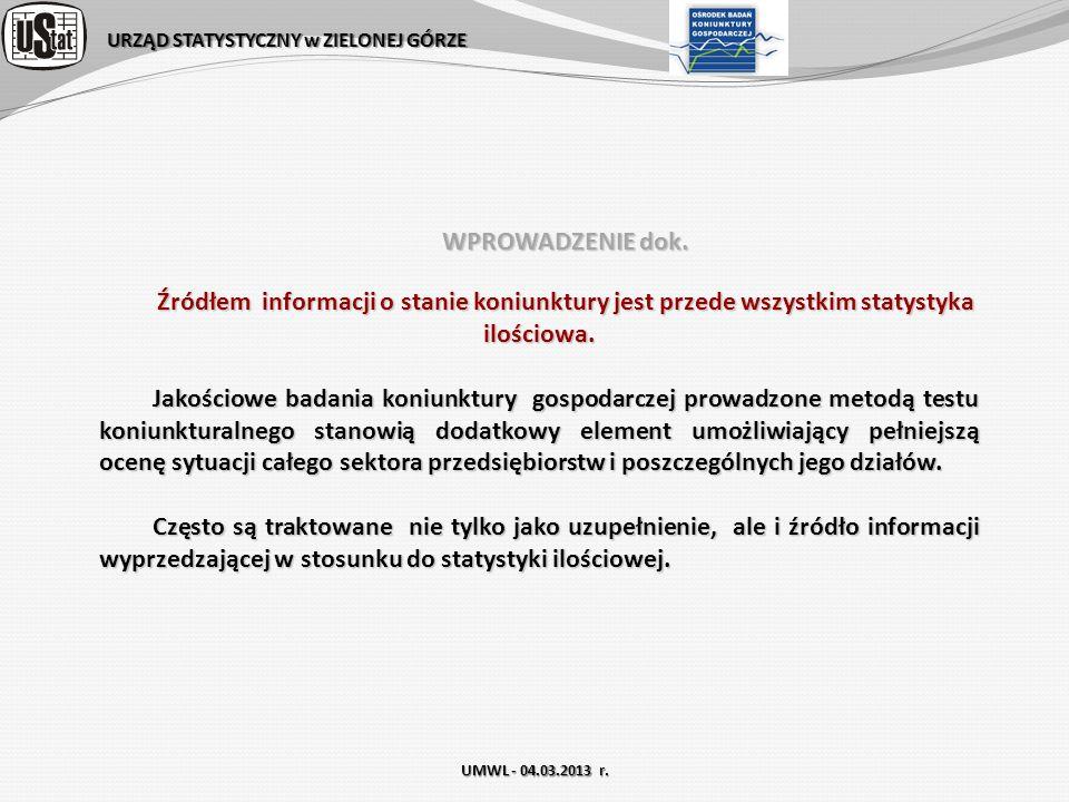 URZĄD STATYSTYCZNY w ZIELONEJ GÓRZE Ośrodek Badań Koniunktury Gospodarczej Bogusława Kołeczek b.koleczek@stat.gov.pl