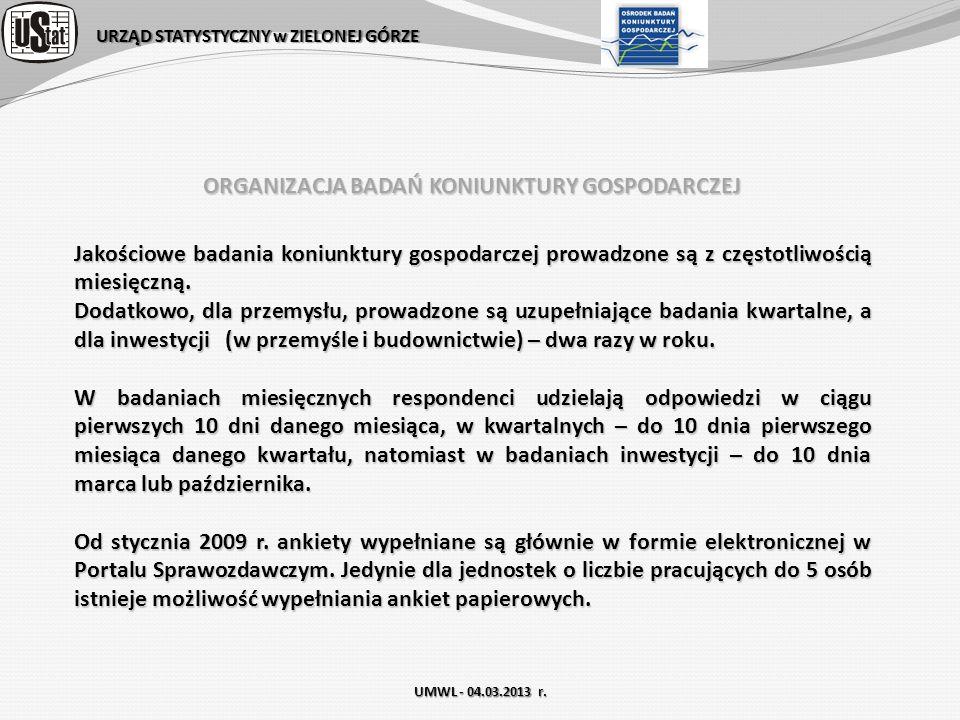 URZĄD STATYSTYCZNY w ZIELONEJ GÓRZE Wielkość prób w badaniach Koniunktury Gospodarczej – województwo LUBUSKIE (661) AK-P/m126 AK-B/m138 AK-H/m264AK-U/m133 UMWL - 04.03.2013 r.
