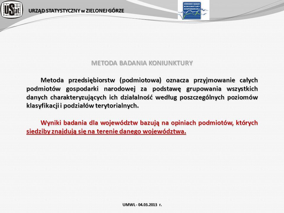 URZĄD STATYSTYCZNY w ZIELONEJ GÓRZE UMWL - 04.03.2013 r. METODA BADANIA KONIUNKTURY Metoda przedsiębiorstw (podmiotowa) oznacza przyjmowanie całych po