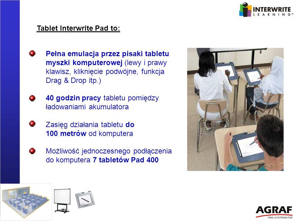 Pełna emulacja przez pisaki tabletu myszki komputerowej (lewy i prawy klawisz, kliknięcie podwójne, funkcja Drag & Drop itp.) 40 godzin pracy tabletu