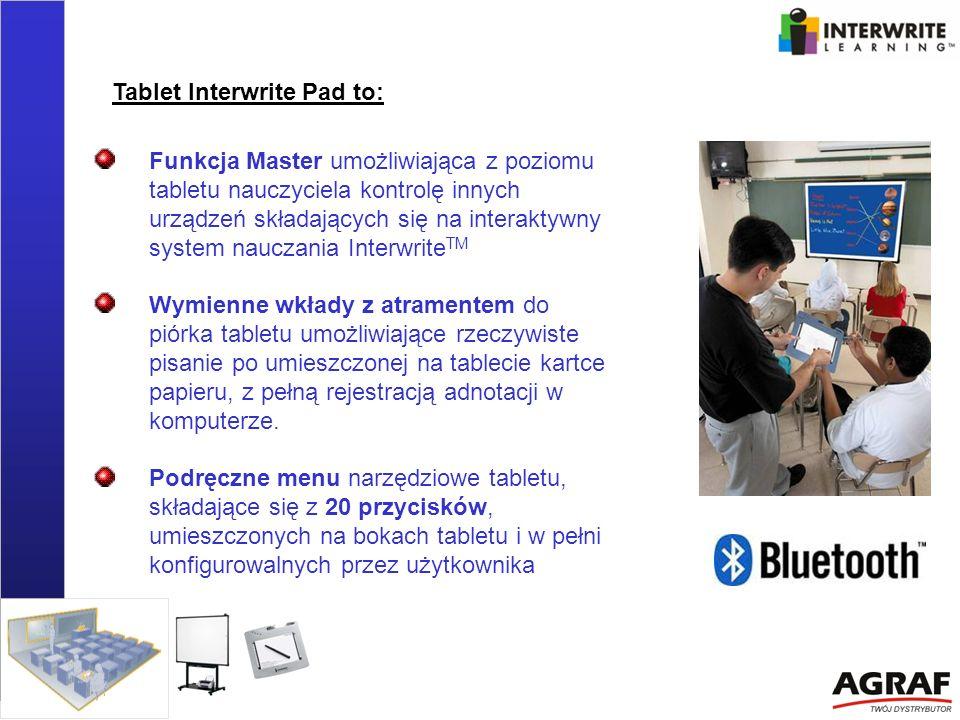 Funkcja Master umożliwiająca z poziomu tabletu nauczyciela kontrolę innych urządzeń składających się na interaktywny system nauczania Interwrite TM Wy