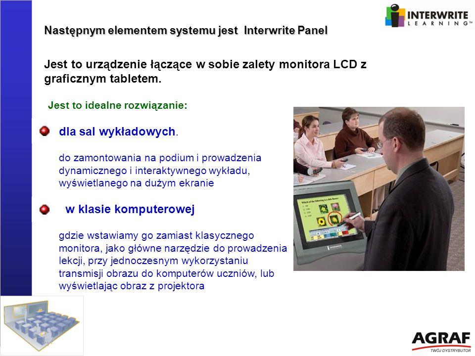 Następnym elementem systemu jest Interwrite Panel dla sal wykładowych. do zamontowania na podium i prowadzenia dynamicznego i interaktywnego wykładu,