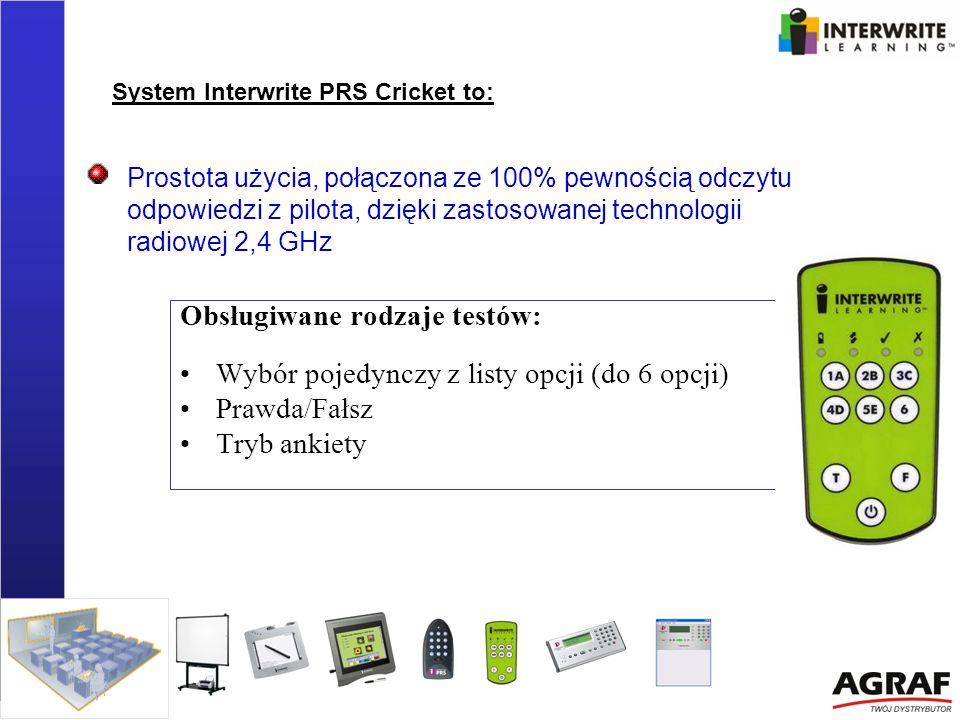 Prostota użycia, połączona ze 100% pewnością odczytu odpowiedzi z pilota, dzięki zastosowanej technologii radiowej 2,4 GHz Obsługiwane rodzaje testów: