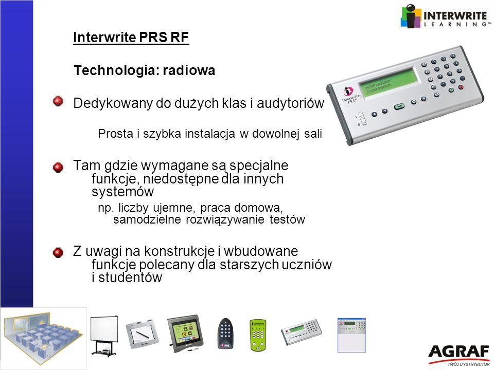 Interwrite PRS RF Technologia: radiowa Dedykowany do dużych klas i audytoriów Prosta i szybka instalacja w dowolnej sali Tam gdzie wymagane są specjal