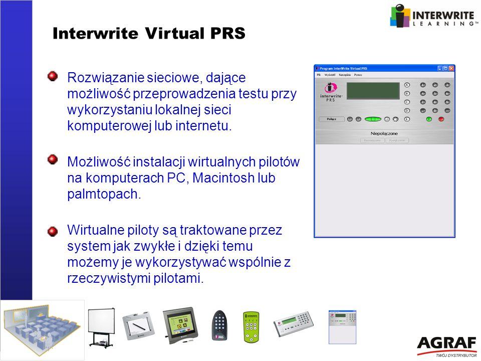 Interwrite Virtual PRS Rozwiązanie sieciowe, dające możliwość przeprowadzenia testu przy wykorzystaniu lokalnej sieci komputerowej lub internetu. Możl