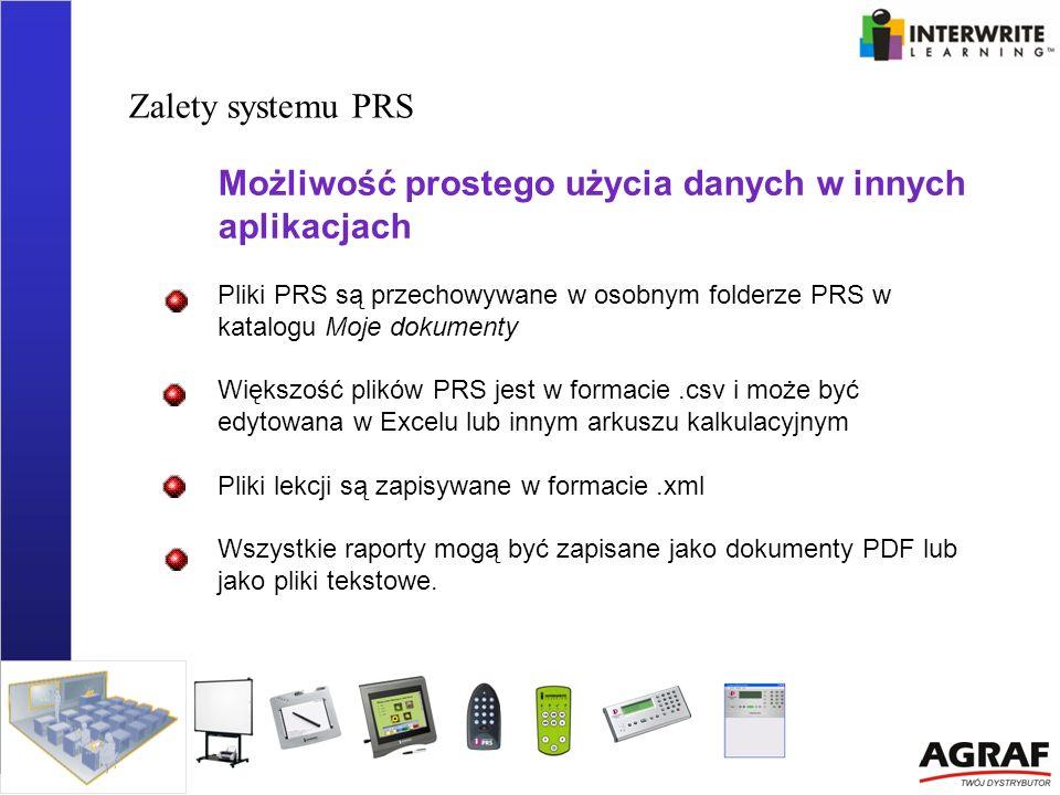 Zalety systemu PRS Możliwość prostego użycia danych w innych aplikacjach Pliki PRS są przechowywane w osobnym folderze PRS w katalogu Moje dokumenty W