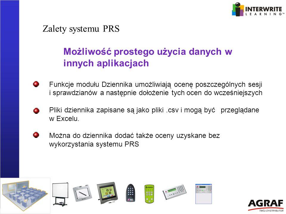 Zalety systemu PRS Możliwość prostego użycia danych w innych aplikacjach Funkcje modułu Dziennika umożliwiają ocenę poszczególnych sesji i sprawdzianó