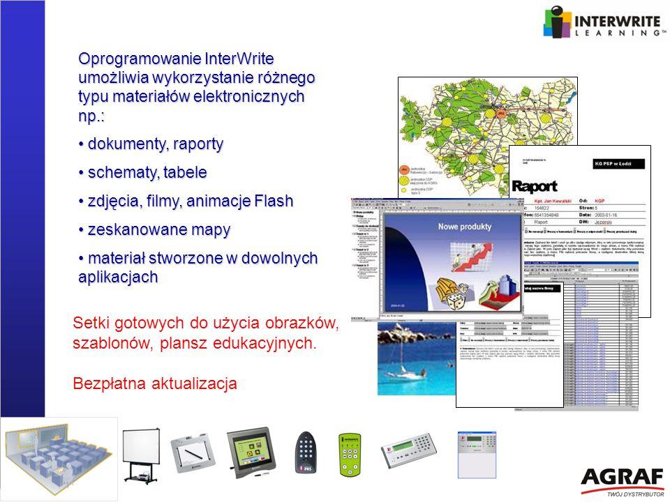 Oprogramowanie InterWrite umożliwia wykorzystanie różnego typu materiałów elektronicznych np.: dokumenty, raporty dokumenty, raporty schematy, tabele