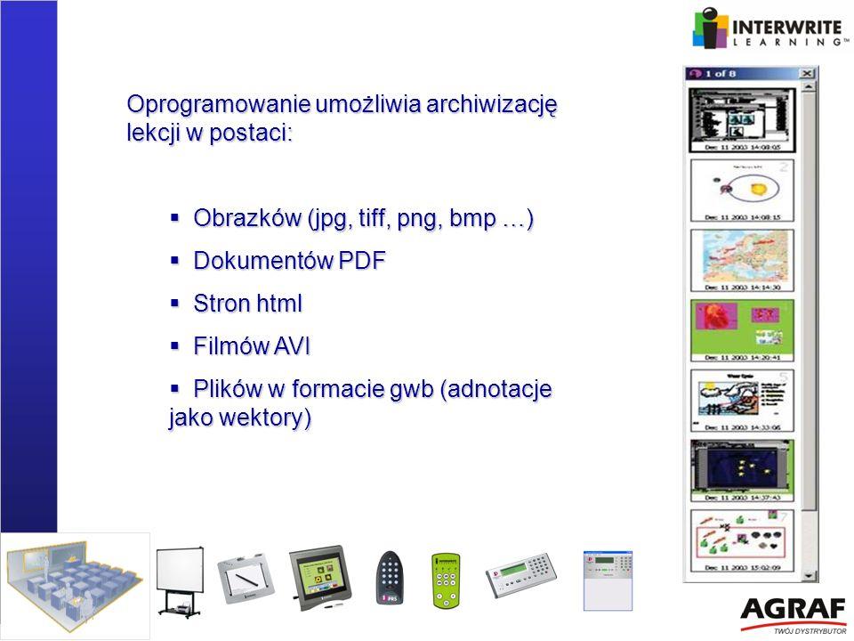 Oprogramowanie umożliwia archiwizację lekcji w postaci: Obrazków (jpg, tiff, png, bmp …) Obrazków (jpg, tiff, png, bmp …) Dokumentów PDF Dokumentów PD
