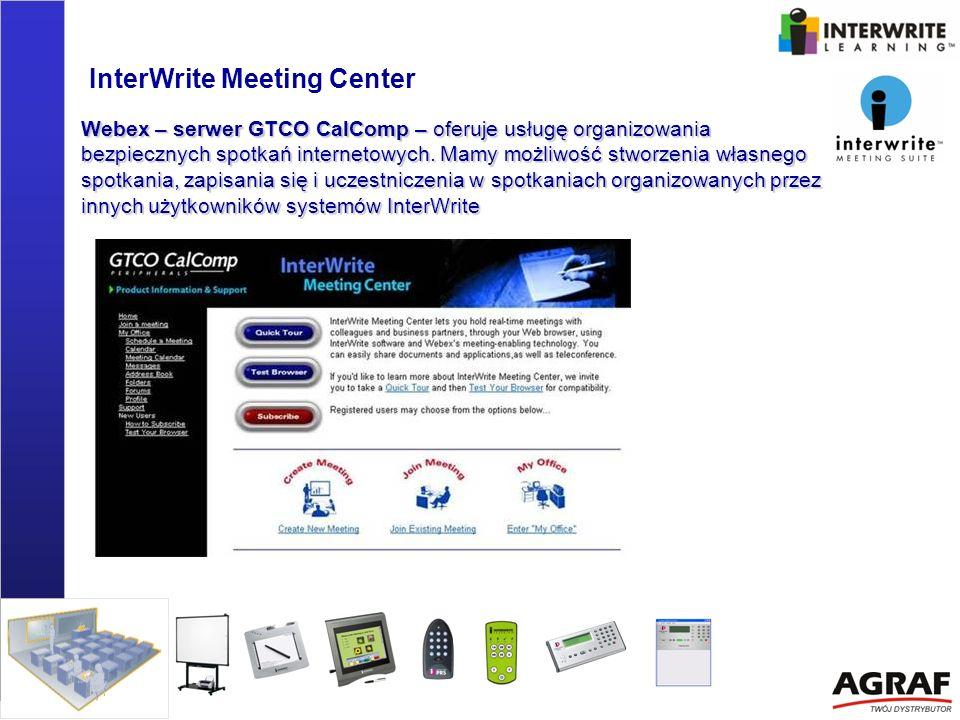 InterWrite Meeting Center Webex – serwer GTCO CalComp – oferuje usługę organizowania bezpiecznych spotkań internetowych. Mamy możliwość stworzenia wła