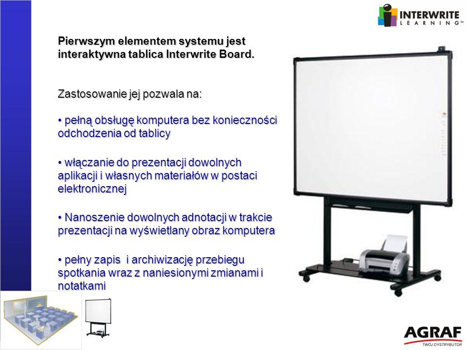 Pierwszym elementem systemu jest interaktywna tablica Interwrite Board. Zastosowanie jej pozwala na: pełną obsługę komputera bez konieczności odchodze