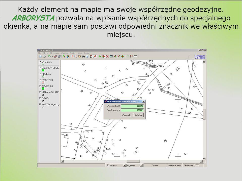 ARBORYSTY Dla wygody zapewniliśmy współpracę ARBORYSTY ze standardem GIS (Geographic Information System), dlatego możliwa jest wymiana informacji tworzonych przez różne podmioty bez konieczności wydruku map.