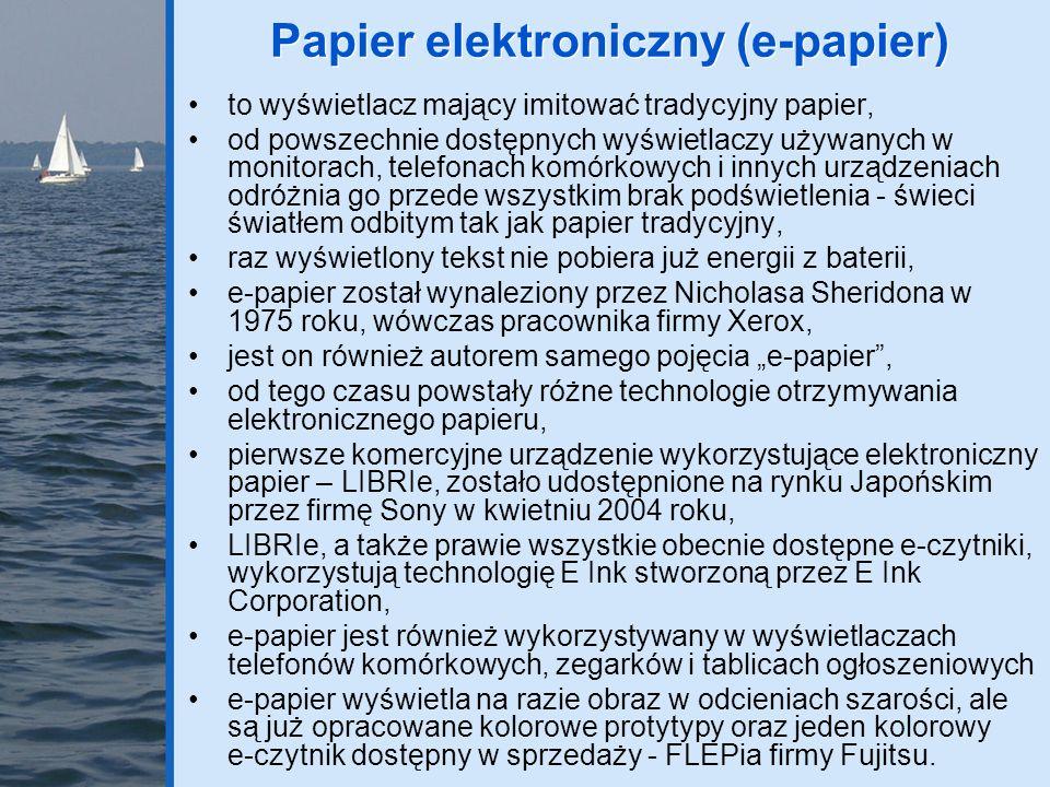 e-czytniki (e-readers, e-book readers) do wyświetlania tekstu wykorzystują e-papier, głównie E Ink, którego najnowsza odmiana Vizplex ma o 20% jaśniejsze tło i jest 2x szybsza, e-czytniki były już dostępne na długo przed 2004 rokiem, ale wykorzystywały wyświetlacze emitujące światło i męczące wzrok, posiadają wbudowaną pamięć (64-512MB) oraz gniazda kart pamięci (SD, MMC, Memory Stick) pozwalające rozszerzyć pojemność e-czytnika, odczytują wiele różnych formatów plików tekstowych, graficznych a nawet dźwiękowych, z komputerem stacjonarnym lub laptopem łączą się poprzez port USB, wyświetlacze mają przekątną od 5 do 9,7 (A4), najtańsze e-czytniki kosztują ok.