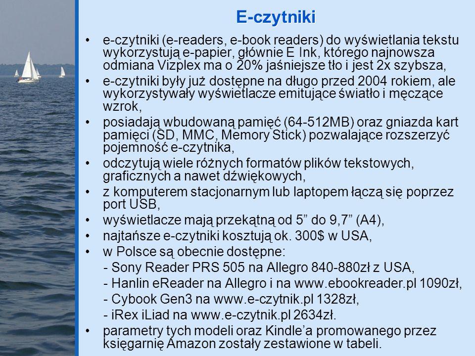 e-czytniki (e-readers, e-book readers) do wyświetlania tekstu wykorzystują e-papier, głównie E Ink, którego najnowsza odmiana Vizplex ma o 20% jaśniej