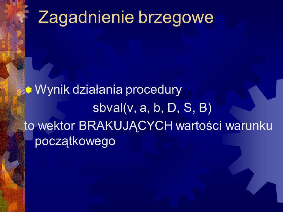 Zagadnienie brzegowe Wynik działania procedury sbval(v, a, b, D, S, B) to wektor BRAKUJĄCYCH wartości warunku początkowego