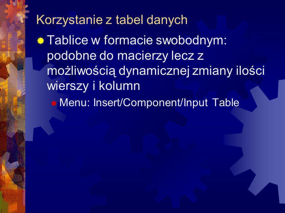 Korzystanie z tabel danych Tablice w formacie swobodnym: podobne do macierzy lecz z możliwością dynamicznej zmiany ilości wierszy i kolumn Menu: Inser