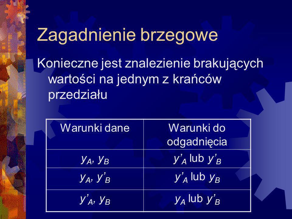 Konieczne jest znalezienie brakujących wartości na jednym z krańców przedziału Warunki daneWarunki do odgadnięcia y A, y B y A lub y B y A, y B y A lu