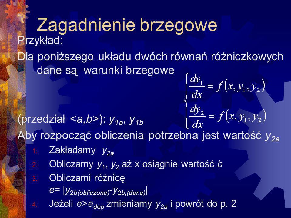 Zagadnienie brzegowe Przykład: Dla poniższego układu dwóch równań różniczkowych dane są warunki brzegowe (przedział ): y 1a, y 1b Aby rozpocząć oblicz