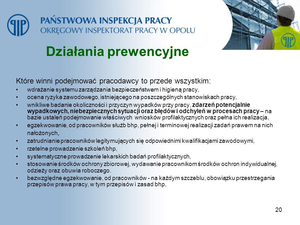20 Działania prewencyjne Które winni podejmować pracodawcy to przede wszystkim: wdrażanie systemu zarządzania bezpieczeństwem i higieną pracy, ocena r
