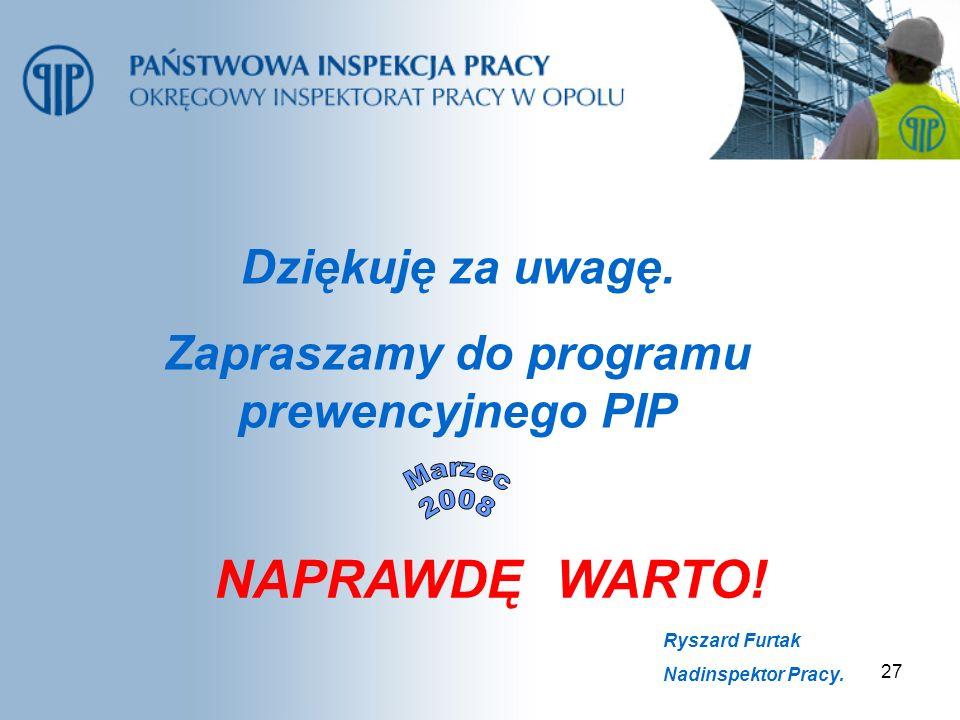 27 Dziękuję za uwagę. Zapraszamy do programu prewencyjnego PIP Ryszard Furtak Nadinspektor Pracy. NAPRAWDĘ WARTO!