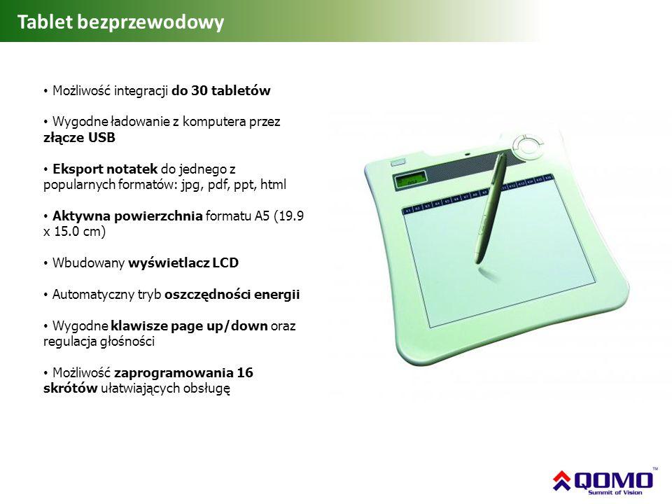 Tablet bezprzewodowy Możliwość integracji do 30 tabletów Wygodne ładowanie z komputera przez złącze USB Eksport notatek do jednego z popularnych forma