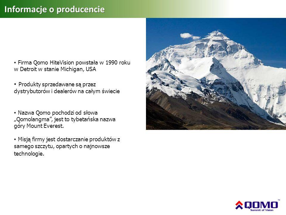 Informacje o producencie Nazwa Qomo pochodzi od słowa Qomolangma, jest to tybetańska nazwa góry Mount Everest. Misją firmy jest dostarczanie produktów