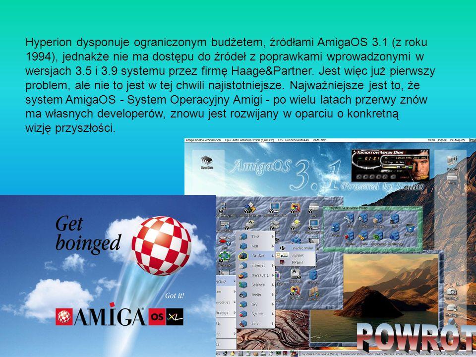 Hyperion dysponuje ograniczonym budżetem, źródłami AmigaOS 3.1 (z roku 1994), jednakże nie ma dostępu do źródeł z poprawkami wprowadzonymi w wersjach