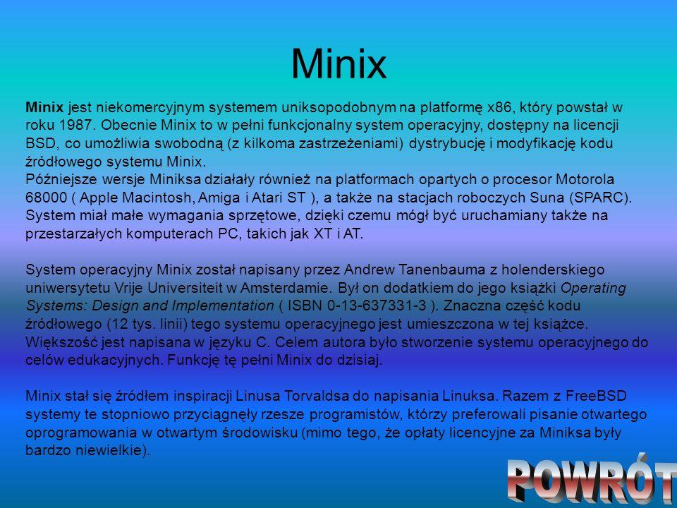 Minix Minix jest niekomercyjnym systemem uniksopodobnym na platformę x86, który powstał w roku 1987. Obecnie Minix to w pełni funkcjonalny system oper