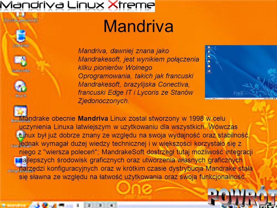 Mandriva Mandriva, dawniej znana jako Mandrakesoft, jest wynikiem połączenia kilku pionierów Wolnego Oprogramowania, takich jak francuski Mandrakesoft