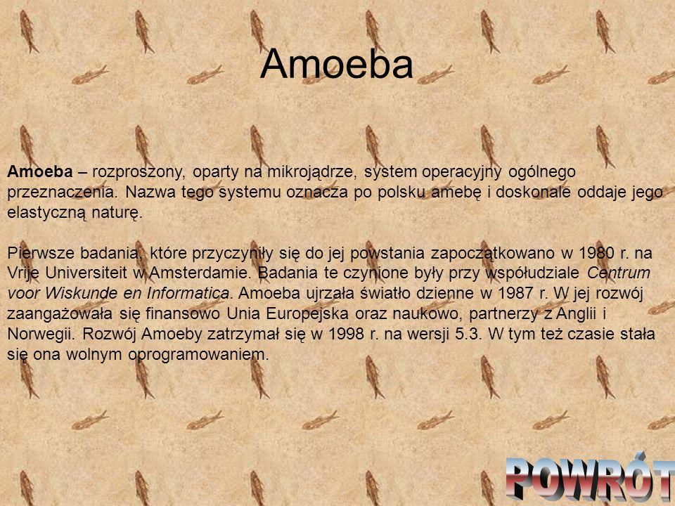 Amoeba Amoeba – rozproszony, oparty na mikrojądrze, system operacyjny ogólnego przeznaczenia. Nazwa tego systemu oznacza po polsku amebę i doskonale o
