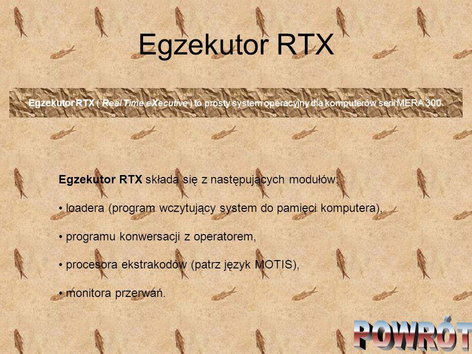Egzekutor RTX Egzekutor RTX ( Real Time eXecutive ) to prosty system operacyjny dla komputerów serii MERA 300. Egzekutor RTX składa się z następującyc