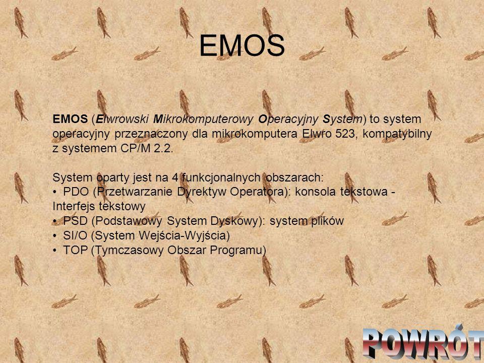 EMOS EMOS (Elwrowski Mikrokomputerowy Operacyjny System) to system operacyjny przeznaczony dla mikrokomputera Elwro 523, kompatybilny z systemem CP/M