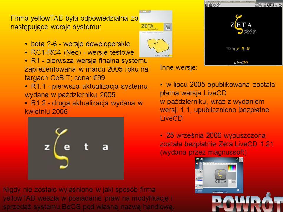 Firma yellowTAB była odpowiedzialna za następujące wersje systemu: beta ?-6 - wersje deweloperskie RC1-RC4 (Neo) - wersje testowe R1 - pierwsza wersja