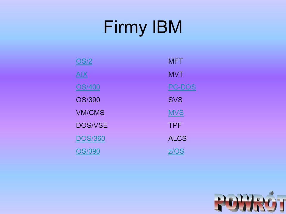 Firmy IBM OS/2 AIX OS/400 OS/390 VM/CMS DOS/VSE DOS/360 OS/390 MFT MVT PC-DOS SVS MVS TPF ALCS z/OS
