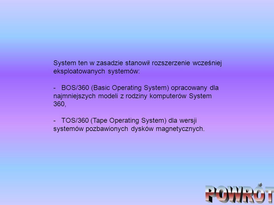 System ten w zasadzie stanowił rozszerzenie wcześniej eksploatowanych systemów: - BOS/360 (Basic Operating System) opracowany dla najmniejszych modeli