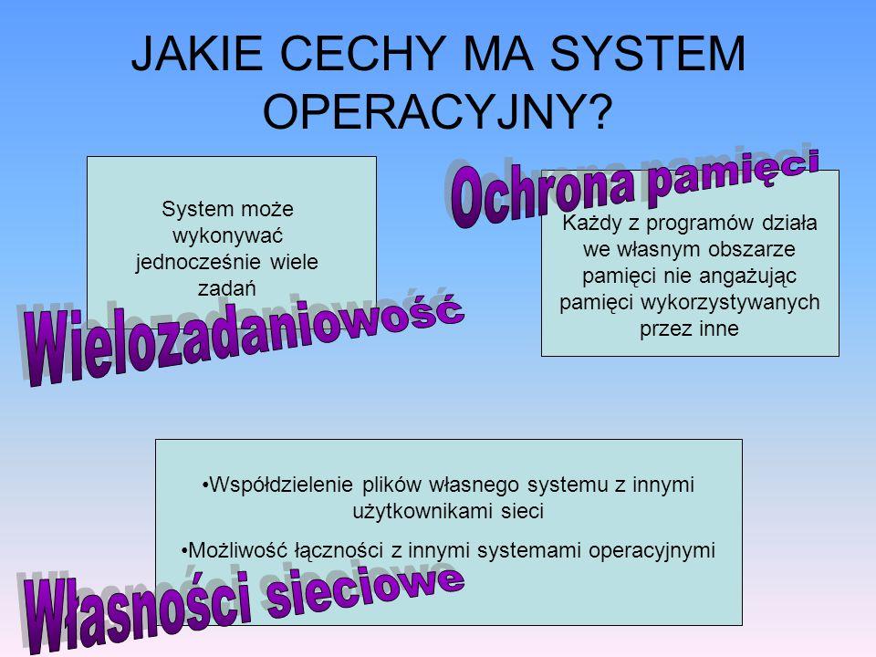 JAKIE CECHY MA SYSTEM OPERACYJNY? System może wykonywać jednocześnie wiele zadań Każdy z programów działa we własnym obszarze pamięci nie angażując pa