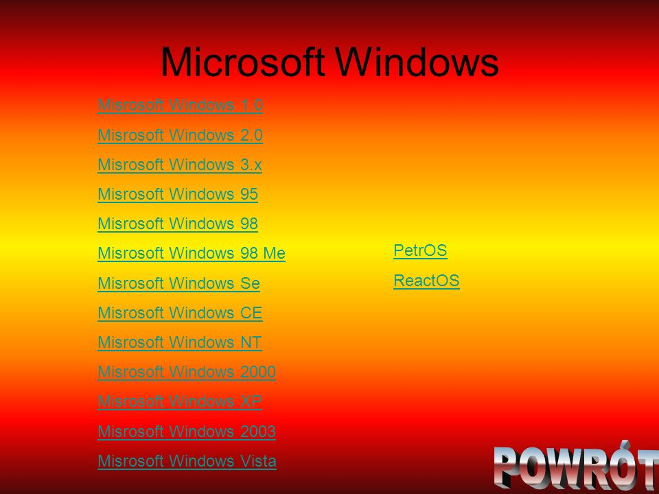 Microsoft Windows Misrosoft Windows 1.0 Misrosoft Windows 2.0 Misrosoft Windows 3.x Misrosoft Windows 95 Misrosoft Windows 98 Misrosoft Windows 98 Me