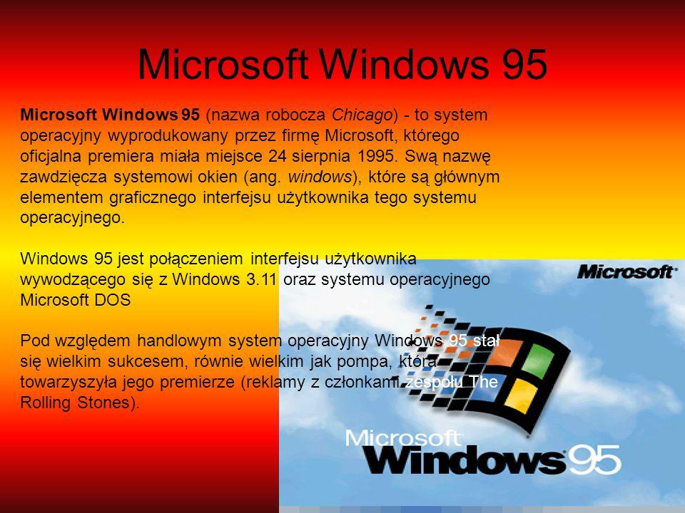 Microsoft Windows 95 Microsoft Windows 95 (nazwa robocza Chicago) - to system operacyjny wyprodukowany przez firmę Microsoft, którego oficjalna premie