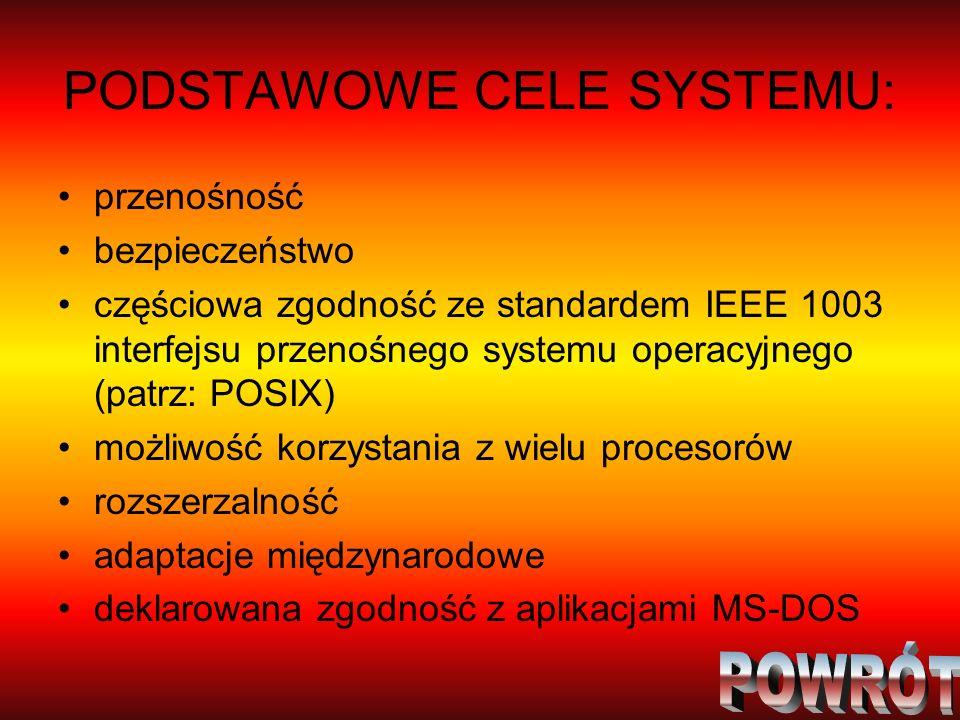 PODSTAWOWE CELE SYSTEMU: przenośność bezpieczeństwo częściowa zgodność ze standardem IEEE 1003 interfejsu przenośnego systemu operacyjnego (patrz: POS