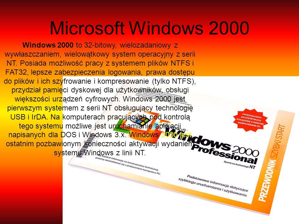Microsoft Windows 2000 Windows 2000 to 32-bitowy, wielozadaniowy z wywłaszczaniem, wielowątkowy system operacyjny z serii NT. Posiada możliwość pracy