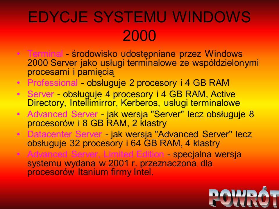 EDYCJE SYSTEMU WINDOWS 2000 Terminal - środowisko udostępniane przez Windows 2000 Server jako usługi terminalowe ze współdzielonymi procesami i pamięc