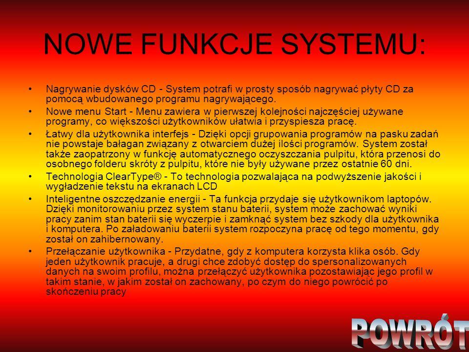 NOWE FUNKCJE SYSTEMU: Nagrywanie dysków CD - System potrafi w prosty sposób nagrywać płyty CD za pomocą wbudowanego programu nagrywającego. Nowe menu