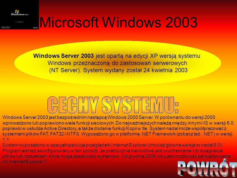 Microsoft Windows 2003 Windows Server 2003 jest opartą na edycji XP wersją systemu Windows przeznaczoną do zastosowań serwerowych (NT Server). System