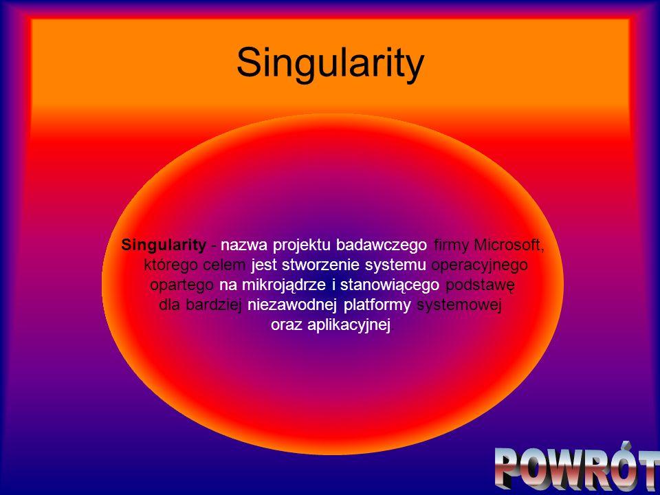 Singularity Singularity - nazwa projektu badawczego firmy Microsoft, którego celem jest stworzenie systemu operacyjnego opartego na mikrojądrze i stan