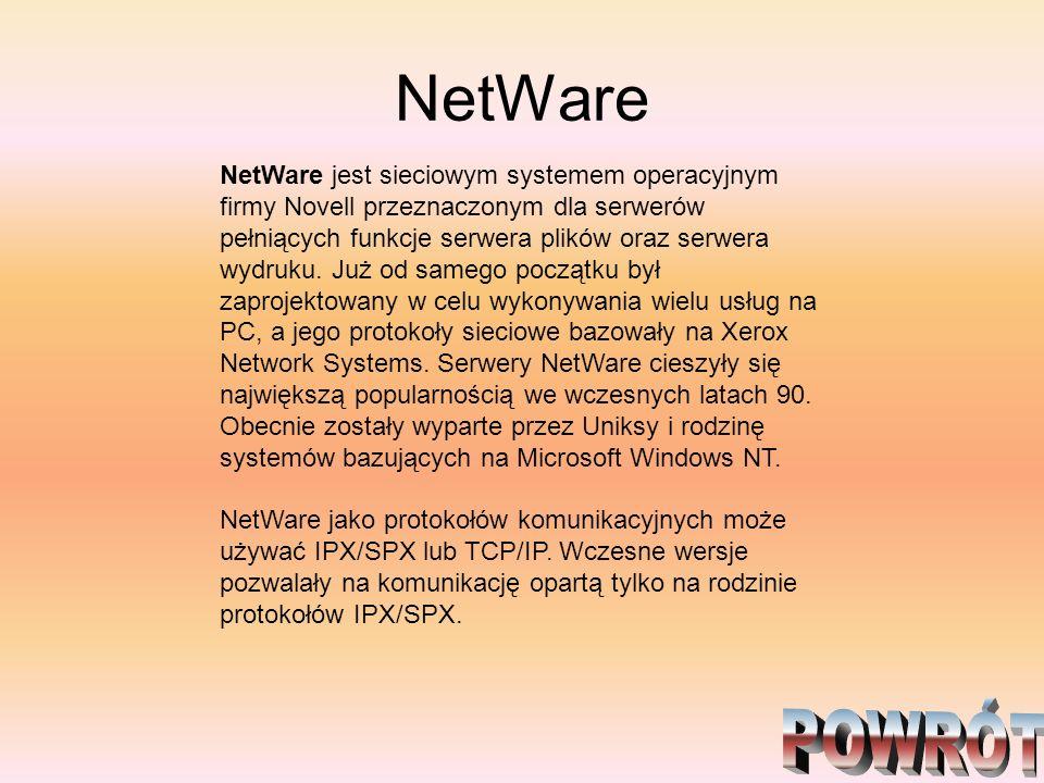 NetWare NetWare jest sieciowym systemem operacyjnym firmy Novell przeznaczonym dla serwerów pełniących funkcje serwera plików oraz serwera wydruku. Ju
