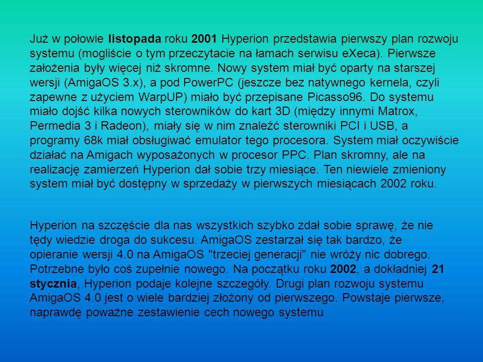 Hyperion dysponuje ograniczonym budżetem, źródłami AmigaOS 3.1 (z roku 1994), jednakże nie ma dostępu do źródeł z poprawkami wprowadzonymi w wersjach 3.5 i 3.9 systemu przez firmę Haage&Partner.